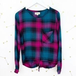 Anthro • Teal Pink Plaid Lace Up Plaid Blouse